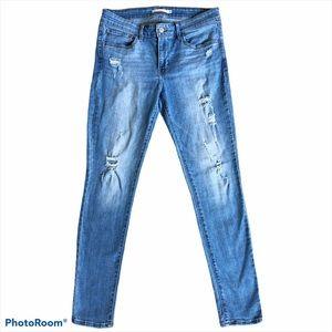 Levi's 711 Blue Distressed Skinny Jeans